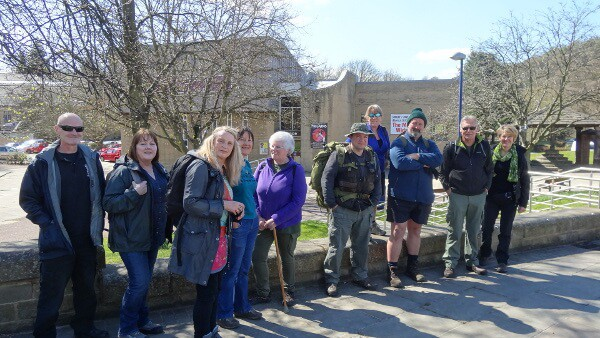 Group of Walkers in front of Bingley Arts Centre