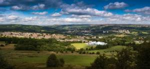 Panorama view of The Aire valley with Bingley