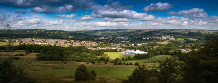The Aire valley with Bingley  - Photo: Nigel Lumb