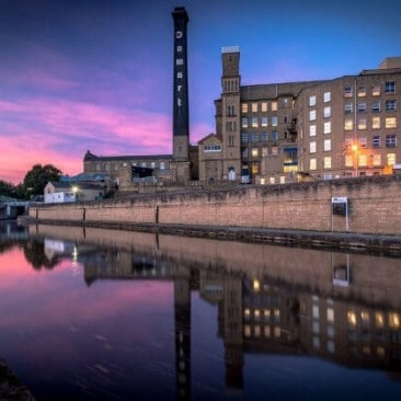 Sunset view of the Damart Bingley Mill