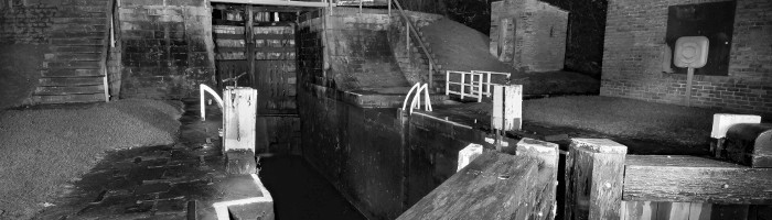 Close-up of bottom lock at Bingley Five Rise in Black & White
