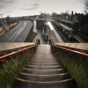 Panoramic view of Bingley Train station from top of steps on Park Road