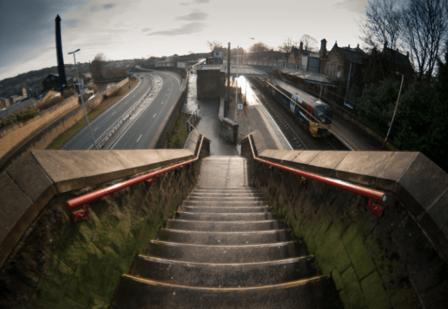 View of Bingley Train Station from top of the steps
