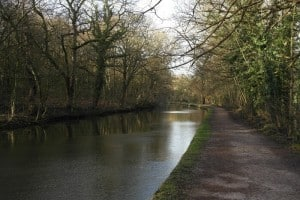 Leeds and Liverpool canal through Hirstwood near Saltaire