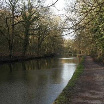 Leeds and Liverpool canal through Hirst Wood near Saltaire