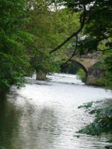 River Aire in Bingley with Ireland Bridge