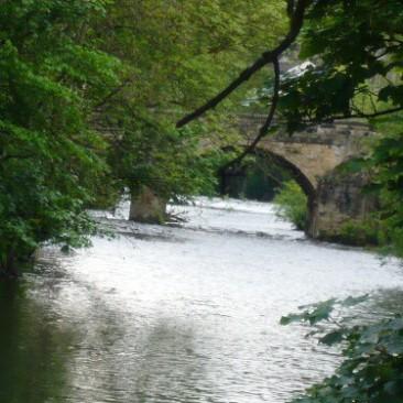 River Aire in Bingley with Ireland Bridge by Regine Geldhof