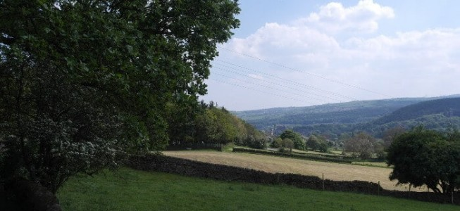 The Aire Valley with Bingley in the background from Micklethwaite