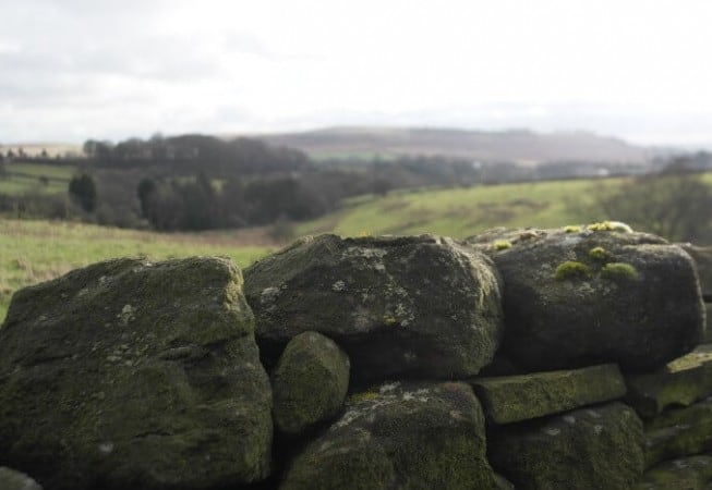Close up of a Yorkshire drystone wall with Baildon Moor in the background