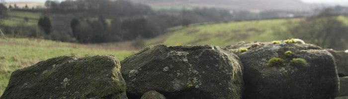 Baildon Moor view behind drystone wall by Cedric Farineau