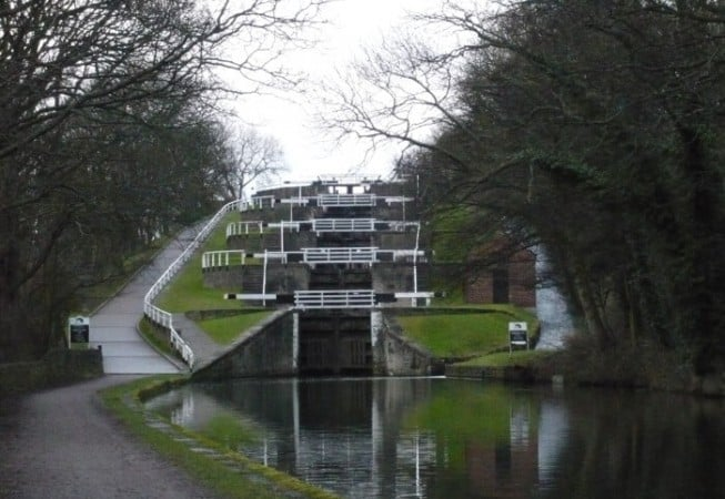 View of the Five Rise Locks on the Leeds and Liverpool canal near Bingley, West Yorkshire