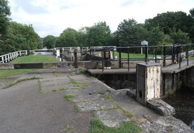 Hirst Lock on the Leeds and Liverpool canal between Saltaire and Bingley