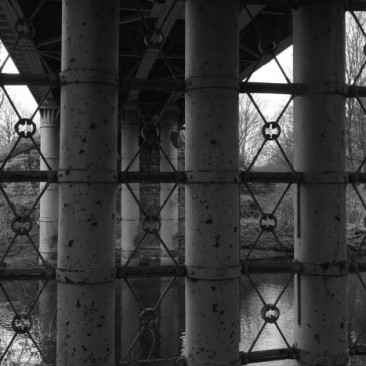 Steel Bridge pillars above River Aire