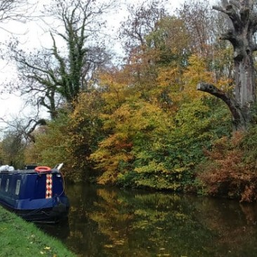 Barge on Leeds and Liverpool canal near Bingley