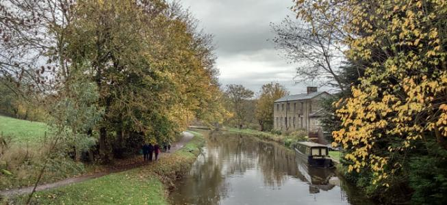 Autumnal view of Dowley Gap near Bingley on Leeds and Liverpool canal