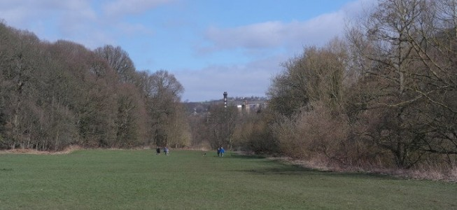 View of Damart chimney in the background from Myrtle Park on the River Aire bank