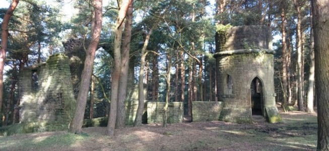 Full view of Saint David's Folly in Ruin Bank Wood near Harden, formerly part of St Ives Estate