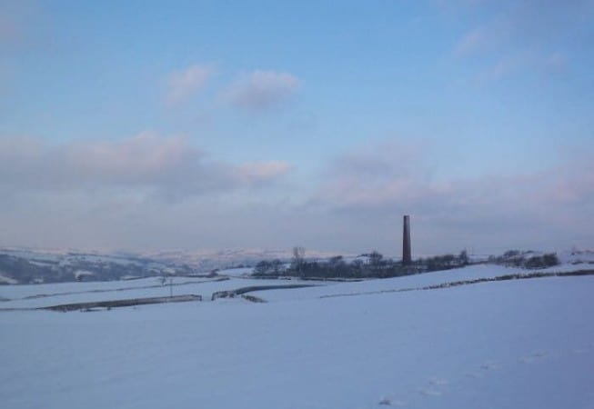 Snow Covered view of Rombalds Moors taken from the top of Elwick