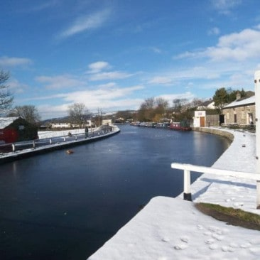 Snow on Leeds and Liverpool Canal at Bingley Five Rise