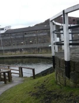 Bingley Old Train Station Warehouse from Three Rise Locks