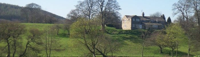 Myrtle Park and House above River Aire