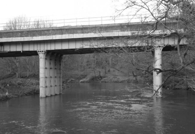 Airedale Railway Line - Steel Bridge above River Aire in Hirstwood near Bingley