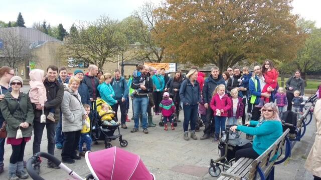 Group of people attending Bingley Five Rise Locks Family Walk