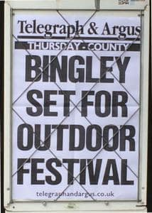 T&A placard - Bingley set for outdoor festival