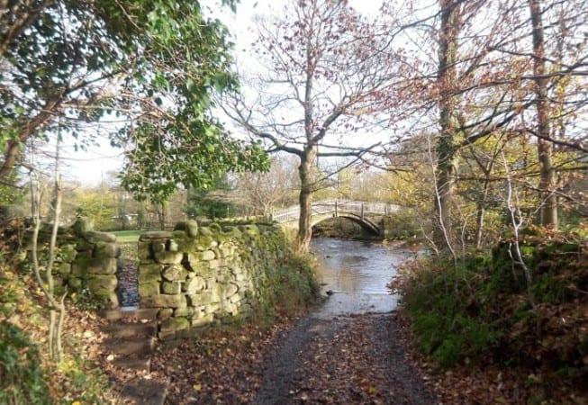 Bottom of Beck Lane in Bingley, near Pack Horse Bridge over Harden Beck