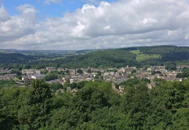 Panorama view of Bingley Town with St Ives Estate and Harden Valley in background