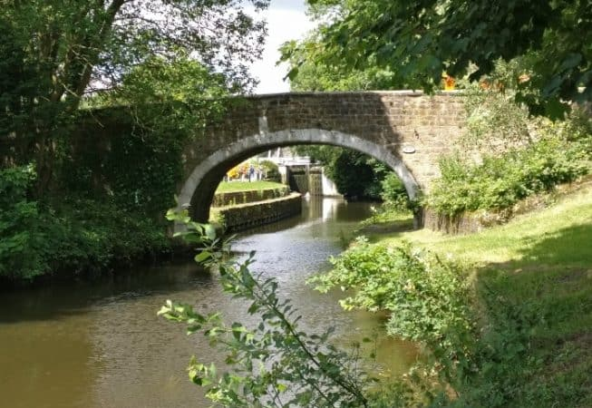 View of Dowley Gap Bridge with canal locks in the background