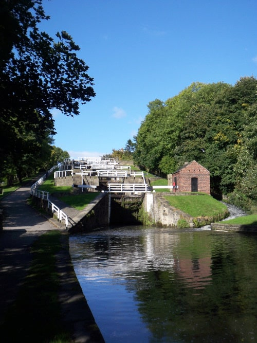 View of Bingley Five Rise Locks from bottom of the staircase