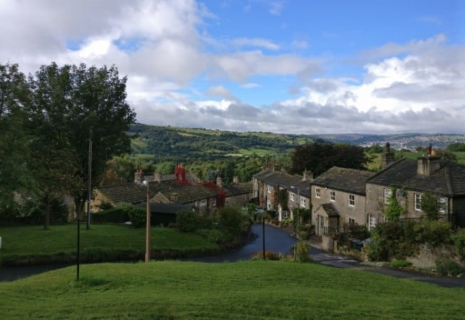 Row of Houses in the centre of Micklethwaite village near Bingley, West Yorkshire