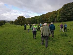 Walkers in Bingley St Ives meadows