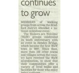 Telegraph & Argus - 2017-10-25 - Walking campaign continues to grow