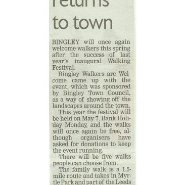Telegraph & Argus - 2018-04-30 - Walking festival returns to town