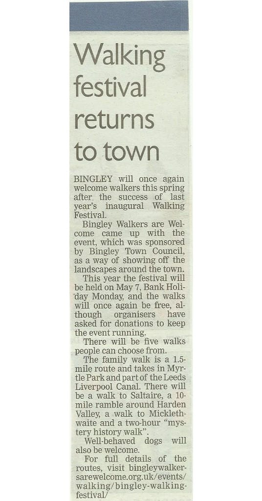 Telegraph & Argus - 2018-04-30 - Walking festival returns to town