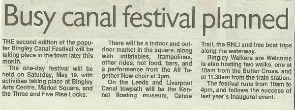 Telegraph & Argus - 2018-05-01 - Busy canal festival planned