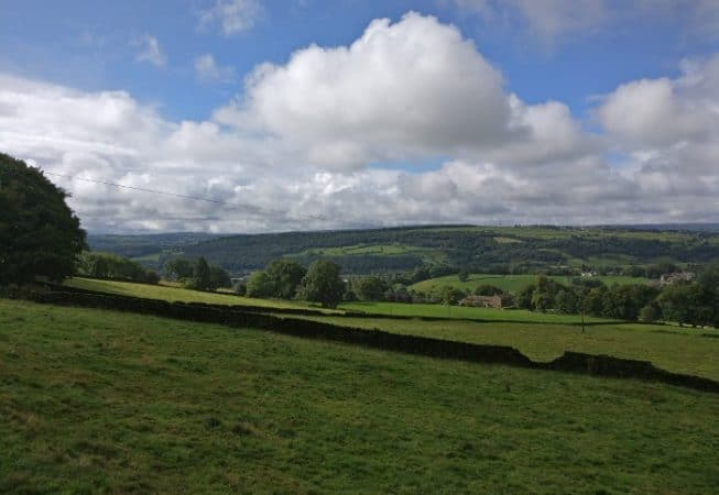 Top of Altar Lane looking down on Aire Valley