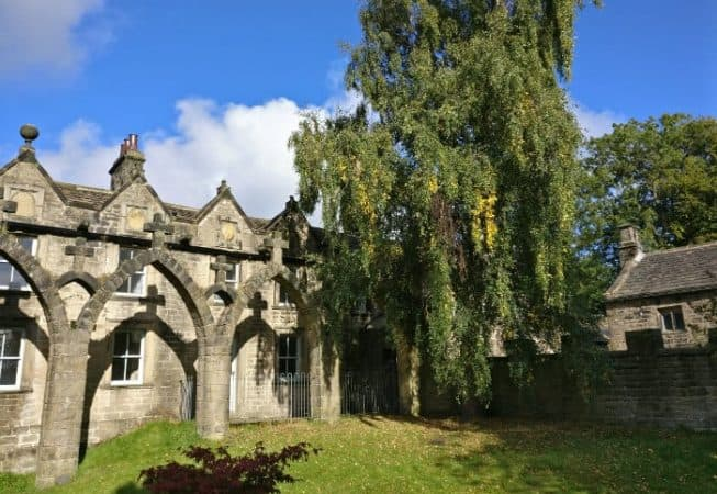 Cloister feature in the Old Manor House garden at Bingley St Ives Estate