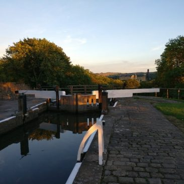 Damart Mill from Five Rise Locks in the sunset