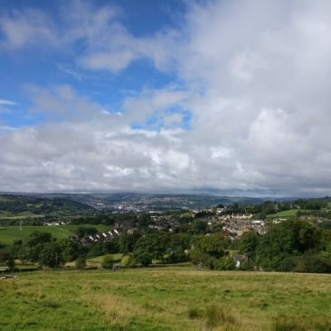 View of East Morton with Keighley in the Aire Valley