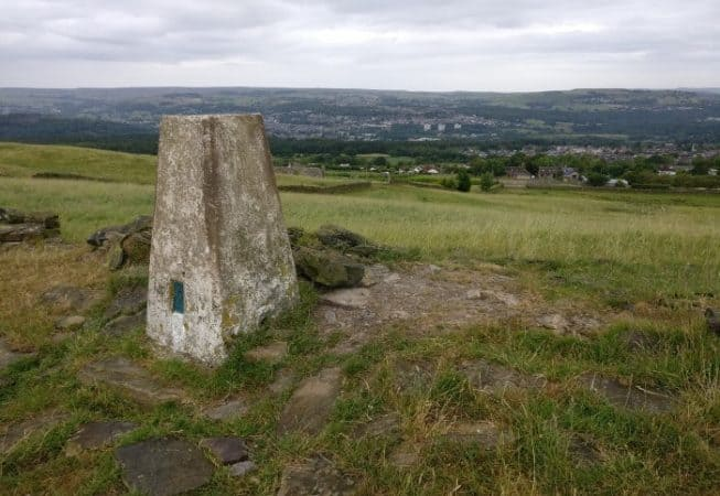 View of the Aire Valley from Norr Hill summit (262m) with trig point
