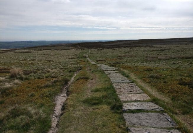 Ilkley Moor is now crossed with stone paved paths