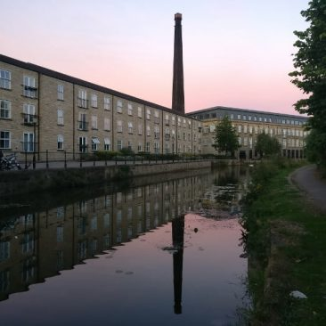 Sunset over Britannia Wharf Mill in Bingley