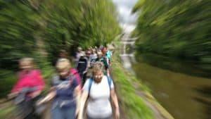 Walkers near Five Rise Locks in Bingley