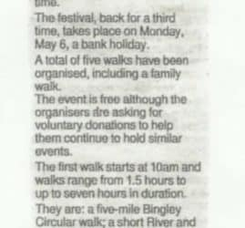 Telegraph & Argus - 2019-03-19 - Step out for third bingley walks festival