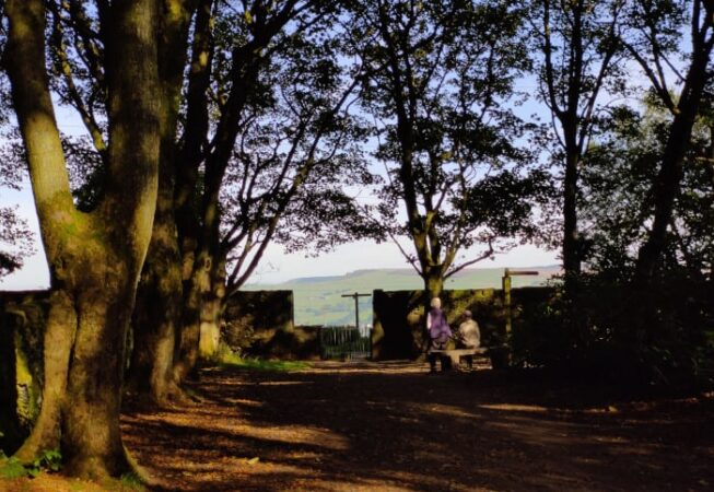 Couple watching beautiful scenery near Altar Lane in St Ives