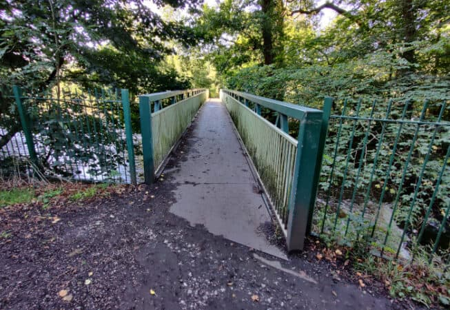 This iron bridge can be found in Myrtle Park over the River Aire.