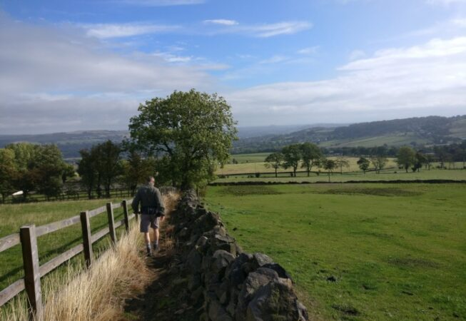 Walking down Norr Hill, looking at Cottingley Moor in the background